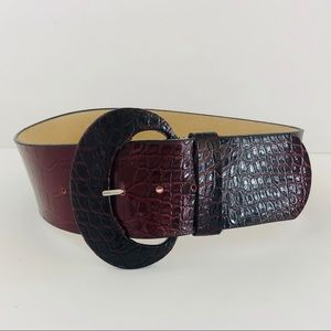 WHITE HOUSE BLACK MARKET • wide maroon gator belt